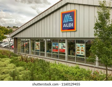 MERTHYR TYDFIL, WALES - AUGUST 2018: Exterior view of the ALDI store in Merthyr Tydfil, Wales