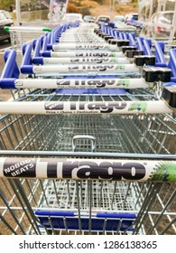 MERTHYR TYDFIL, WALES - JULY 2018: Close up of shopping trolleys at the Trago Mills superstore in Merthyr Tydfil