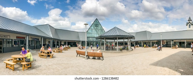 MERTHYR TYDFIL, WALES - JULY 2018: Panoramic view of the entrance to the Trago Mills superstore in Merthyr Tydfil
