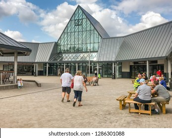 MERTHYR TYDFIL, WALES - JULY 2018: Exterior view of the entrance to the Trago Mills superstore in Merthyr Tydfil