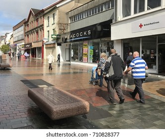 Merthyr Tydfil, Wales - September 2017: The main street in the town centre
