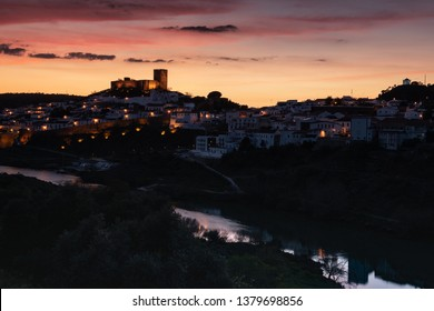 Mertola at night, village of Portugal and its castle. Village in the south of Portugal in the region of Alentejo.