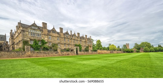 Merton College in cloudy summer scenery