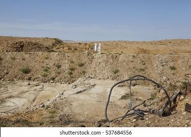 MERZENICH, GERMANY - SEPTEMBER, 10. Dug up landscape in Merzenich (Northrhine Westphalia, Germany) near the opencast mining Hambach (Rhenania soft coal field) on September 10, 2016.