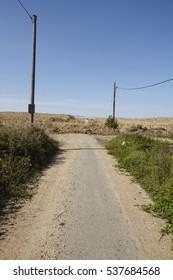 MERZENICH, GERMANY - SEPTEMBER, 10. A road ends up in the nowhere in Merzenich (Northrhine Westphalia, Germany) near the opencast mining Hambach (Rhenania soft coal field) on September 10, 2016.