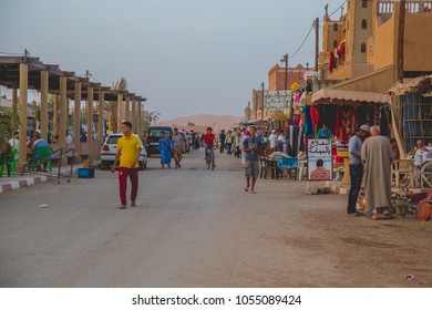MERZOUGA, MOROCCO - 02 AUGUST 2017: The berber town of Merzouga village with its typical Berber architectural elements in Merzouga, Morocco