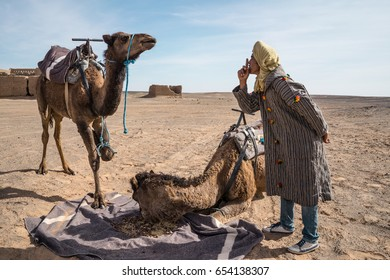 MERZOUGA, MOROCCO - JANUARY 8, 2017: Berber man with his camels in the desert.