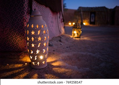 Merzouga, Morocco - May 12: The stylish lamp in the desert camp in Merzouga, Morocco on May 12 2016.