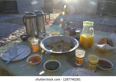 Merzouga/Morocco_11 Jan 2019: A traditional breakfast at Merzouga West Sahara Desert with various kind of jams, honey, bread with eggs.