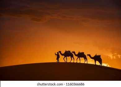 Merzuga Saharl desert,Camel caravan going through the sand dunes in the Sahara desert, Marocco, Camel in desert concept.