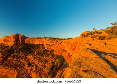 Mesa Arch, Utah, at sunrise, on a clear autumn day