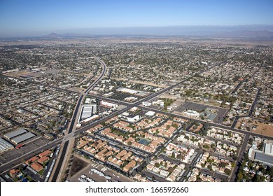 Mesa, Arizona from above with a view to the northwest along the consolidated canal