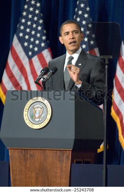 MESA, AZ - FEBRUARY 18: President Barack Obama speaks about the home mortgage crisis at Dobson High School on  February 18, 2009 in Mesa, AZ.