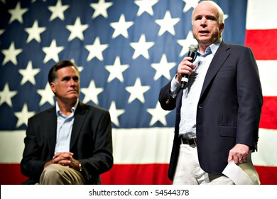 MESA, AZ - JUNE 4: Former Massachusetts Governor Mitt Romney and Senator John McCain appear at a town hall meeting on June 4, 2010 in Mesa, Arizona.
