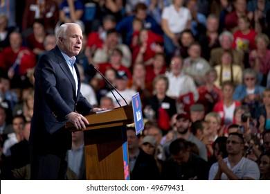 MESA, AZ - MARCH 27: Republican Senator John McCain of Arizona addresses supporters at a re-election rally on March 27, 2010 in Mesa, AZ.