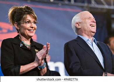 MESA, AZ - MARCH 27: Senator John McCain and former Vice Presidential candidate Sarah Palin attend a re-election rally for  Senator McCain on March 27, 2010 in Mesa, AZ.