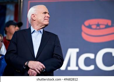 MESA, AZ - MARCH 27: Senator John McCain attends a re-election rally on March 27, 2010 in Mesa, AZ.