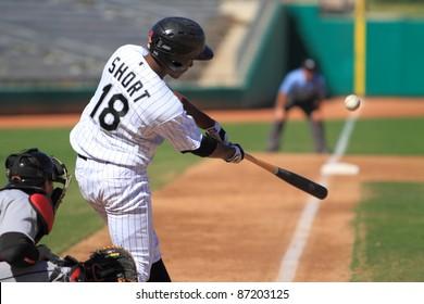MESA, AZ - OCTOBER 17: Brandon Short, a Chicago White Sox prospect, bats for the Mesa Solar Sox in an Arizona Fall League game Oct. 17, 2011 at HoHoKam Stadium. Short went 1-for-3 with 2 runs scored.