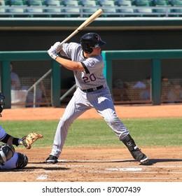 MESA, AZ - OCTOBER 17: Nolan Arenado, a Colorado Rockies prospect, bats for the Salt River Rafters in an Arizona Fall League game Oct. 17, 2011 at HoHoKam Stadium in Mesa, AZ. Arenado went 3-for-5 with a homer.