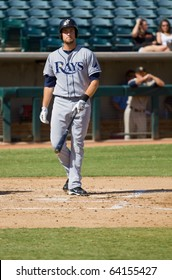 MESA, AZ - OCTOBER 19: Henry Wrigley, a top prospect for the Tampa Bay Rays, prepares to bat for the Peoria Saguaros in an Arizona Fall League game Oct. 19, 2010 at Phoenix Municipal Stadium.
