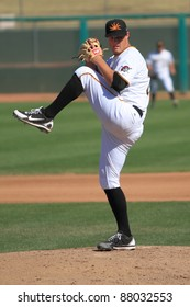MESA, AZ - OCTOBER 26: Gerrit Cole, the Pittsburgh Pirates' first-round draft pick in 2011, pitches for the Mesa Solar Sox in the Arizona Fall League Oct. 26, 2011 at HoHoKam Stadium, Mesa, AZ.