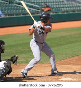 MESA, AZ - OCTOBER 26: Ryan Dent, a Boston Red Sox prospect, bats for the Scottsdale Scorpions in the Arizona Fall League Oct. 26, 2011 at HoHoKam Stadium, Mesa AZ. Dent doubled twice and walked.