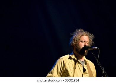 MESA, AZ - SEPTEMBER 29: Justin Vernon and the band Bon Iver perform at the Mesa Arts Center on September 29, 2009 in Mesa, Arizona.
