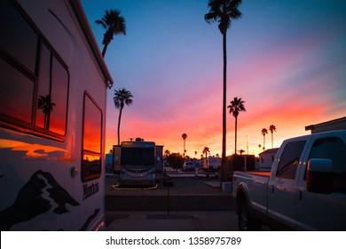 Mesa, AZ, USA - February 22, 2018: Enjoying the sunset view from inside of RV Resort