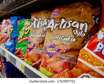 MESA, AZ/USA- JUNE 26, 2020: Bags of Barcel Kettle Cooked Fuefo Potato Chips on shelve at local Winco Foods Store in Mesa, Arizona. Barcel is confectionery snack food maker owned by Bimbo Group.
