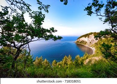 Mesecev zaliv (Moon Bay), Strunjan, Slovenia. Moon Bay near Strunjan is probably the most beautiful stretch of the short Slovenian coastline. - Shutterstock ID 718318051