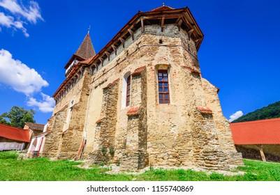 Mesendorf, Romania - Fortified saxon church heritage of medieval Transylvania. Brasov county.
