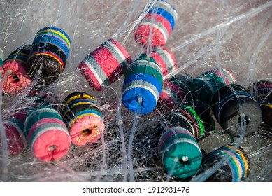 mesh fishing net colorful rubber floatation device for local and small scale fishing