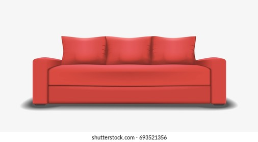 mesh illustration of realistic red sofa. Object design