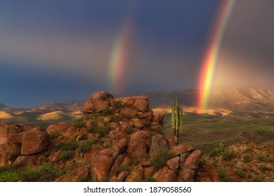 A mesmerizing shot of the amazing landscapes and a rainbow of Cebeque Creek in Arizona
