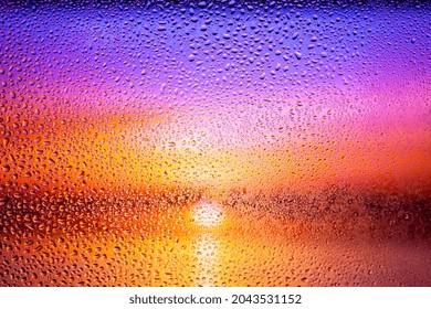 mesmerizing sunset through misted glass