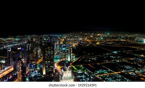 A mesmerizing view of beautiful Dubai cityscape at night