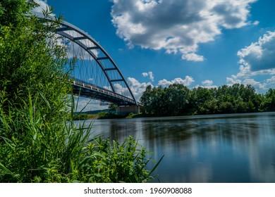 A mesmerizing view of a beautiful Missouri river, a bridge at Leavenworth Kansas