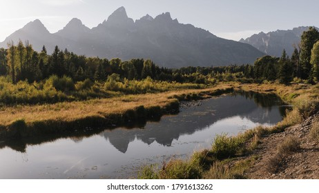 A mesmerizing view of Grand Teton National Park in Wyoming during the sunset