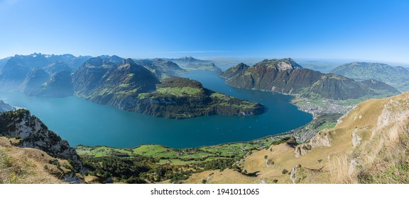 A mesmerizing view to Lake Lucerne with Rigi and Pilatus mountains, Brunnen town from Fronalpstock