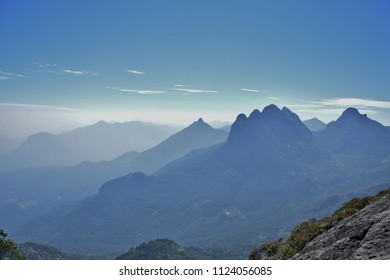 Mesmerizing view of mountain ranges,blue horizon and western ghats from the top of Agasthya Hills.