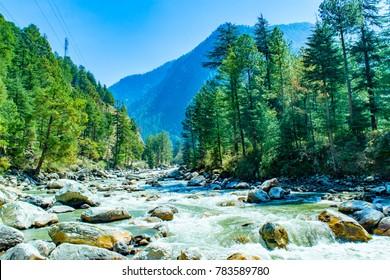 Mesmerizing view at Parvati river valley, Kasol, Himachal Pradesh, India.