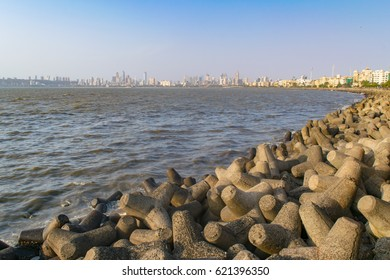 Mesmerizing view at sunset from Nariman point of  Marine drive also known as Queen's necklace , Mumbai, Maharashtra, India.