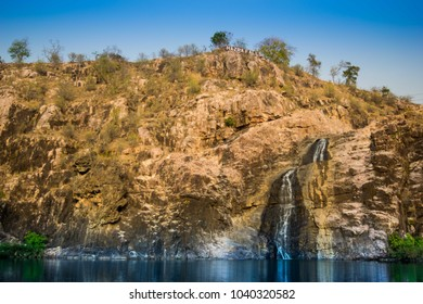 A mesmerizing wide-angle view of a waterfall situated in Maharashtra, India