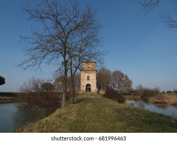 Mesola, Italy - March 15, 2010: Torre Abate. It was built in 1569, was equipped with Vinci's doors placed in the water basins.