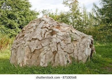 Mesolithic hut at Archeolink in Aberdeenshire, Scotland, UK.