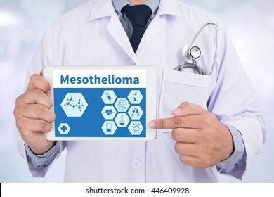 Mesothelioma Doctor holding  digital tablet