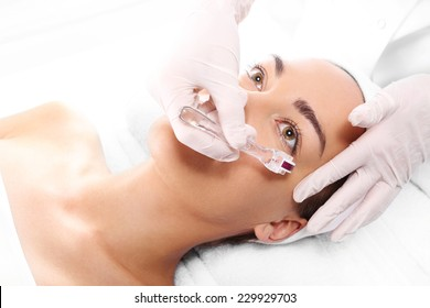 Mesotherapy, around the eyes, anti-wrinkle treatment.Rejuvenation, beautification, the woman at the beautician, Mesotherapy microneedle