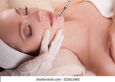 Mesotherapy Face, improvement of the skin condition, elasticity and renewed skin elasticity. Concept of Beauty and perfect skin  after mesotherapy