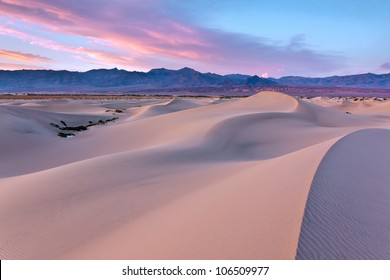 Mesquite Dunes in Death Valley National Park, California is a constantly changing phenomenon and picks up the color of a sunset beautifully