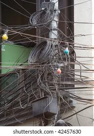 A mess of cabling in Kathmandu
